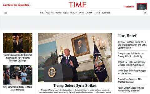 Screenshot of Home Page time.com - TIME | Current & Breaking News | National & World Updates - captured April 14, 2018