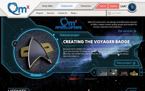 Screenshot of Services Page qmxonline.com - Cinema Arts – Quantum Mechanix - captured Oct. 31, 2014