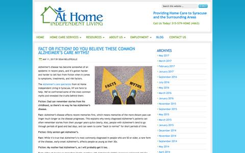 Screenshot of Blog athomeindependentliving.com - Home Health Care Agencies | At Home Independent Living - captured May 31, 2017