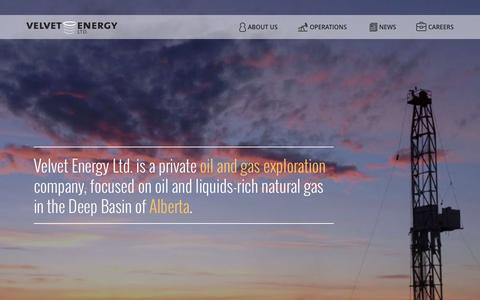 Screenshot of Home Page velvetenergy.net - Velvet Energy Ltd. - Oil and Gas Exploration in the Deep Basin of Alberta. - captured Aug. 13, 2015