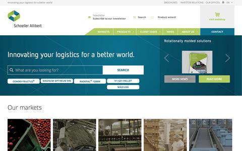 Screenshot of Home Page schoellerallibert.com - Europe's no. 1 supplier of returnable transit packaging   Schoeller Allibert - captured May 13, 2018