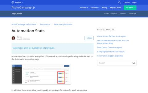 Screenshot of Support Page activecampaign.com - Automation Stats – ActiveCampaign Help Center - captured June 18, 2019