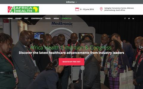 Screenshot of Contact Page africahealthexhibition.com - Largest medical exhibition in Africa - captured March 3, 2016