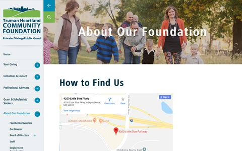 Screenshot of Maps & Directions Page thcf.org - Directions - captured Oct. 20, 2018