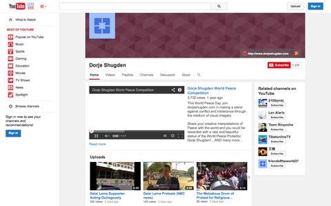 Screenshot of YouTube Page youtube.com - Dorje Shugden  - YouTube - captured Nov. 4, 2014