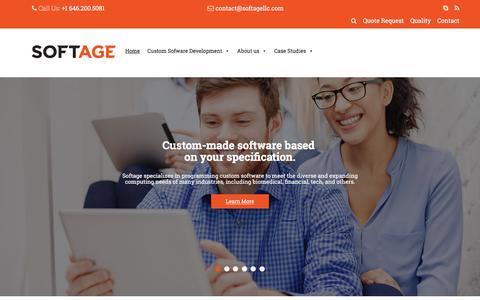 Screenshot of Home Page softagellc.com - Custom Software Development - Softage - captured March 13, 2016
