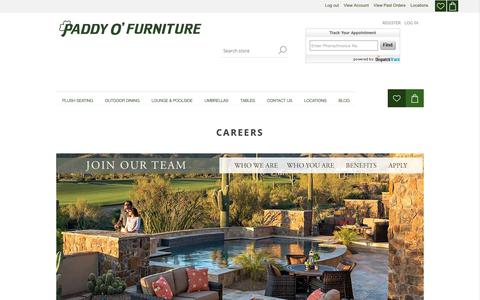 Screenshot of Jobs Page paddyo.com - Careers | Outdoor Patio Furniture | Paddy O' Furniture - captured Sept. 26, 2018