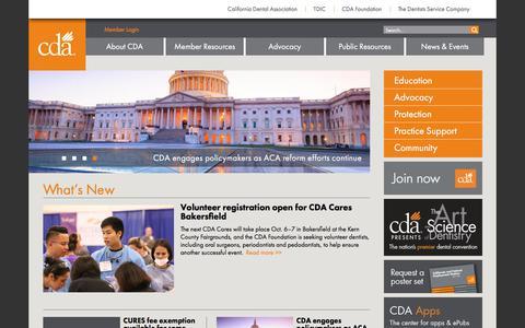 Screenshot of Home Page cda.org - California Dental Association (CDA) - captured June 23, 2017