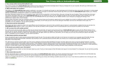 Screenshot of Privacy Page andrewbreslin.com - AndrewBreslin.com - Privacy Policy - captured Oct. 8, 2017