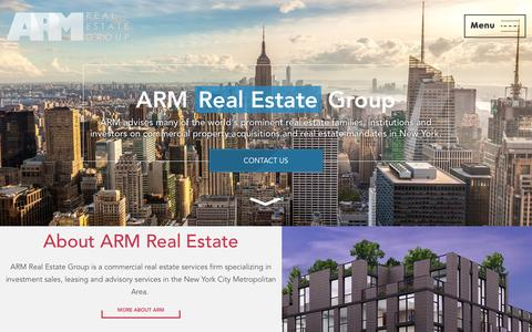 Screenshot of Home Page armre.com - ARM Real Estate Group New York - captured Feb. 5, 2016