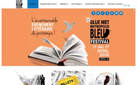 Screenshot of Home Page metropolisbleu.org - Accueil - Metropolis bleu - captured Feb. 10, 2016