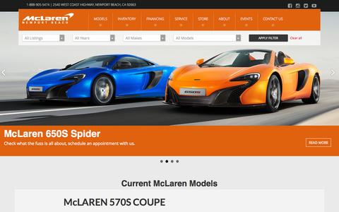 Screenshot of Home Page mclarennb.com - McLaren Newport Beach dealer - New and Used McLarens in Orange County Los Angeles San Diego California - captured Sept. 6, 2015