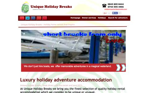 Screenshot of Products Page uniqueholidaybreaks.co.uk - Unique Holiday Breaks | Holiday rentals - captured Sept. 30, 2014
