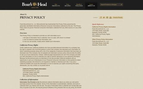 Screenshot of Privacy Page boarshead.com - Privacy Policy | Boar's Head - captured Sept. 24, 2014