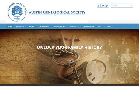 Screenshot of Home Page austintxgensoc.org - Austin Genealogical Society | Advancing genealogy through wide-ranging research and education, and supporting the preservation of the heritage of Austin, Travis County and Texas - captured Oct. 4, 2014