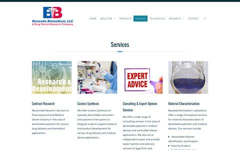 Screenshot of Services Page bezwadabiomedical.com - Research & Consulting Services - Bezwada Biomedical - captured Oct. 10, 2017