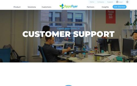 Screenshot of Support Page appsflyer.com - Customer Support | AppsFlyer Careers - captured Feb. 4, 2019
