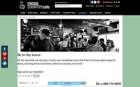 Screenshot of Signup Page crosscountrycafe.com - Sign up for our newsletter - captured May 22, 2017