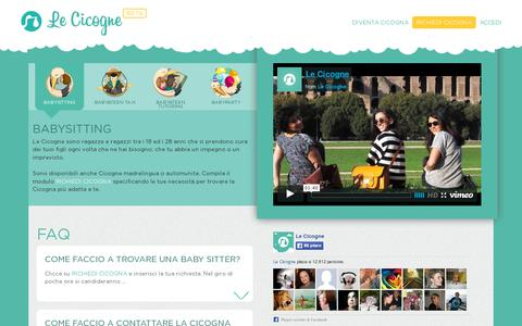 Screenshot of Home Page lecicogne.net - Babysitter | Le Cicogne - Baby Sitter - Roma - captured July 11, 2014
