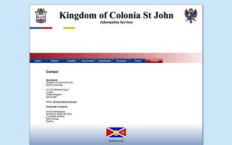 Screenshot of Contact Page colonia.asia - Contact | Kingdom of Colonia St John - captured May 23, 2016