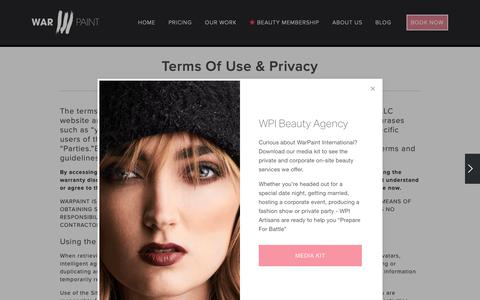 Screenshot of Terms Page warpaintinternational.com - Terms of Use — Warpaint International Beauty Agency - captured Oct. 24, 2018