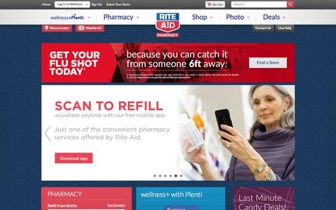 Screenshot of Home Page riteaid.com - Rite Aid Pharmacy - With Us, It's Personal - captured Oct. 29, 2015