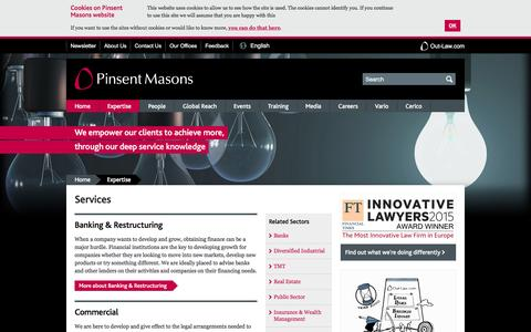 Screenshot of Services Page pinsentmasons.com - Services - captured Dec. 9, 2015