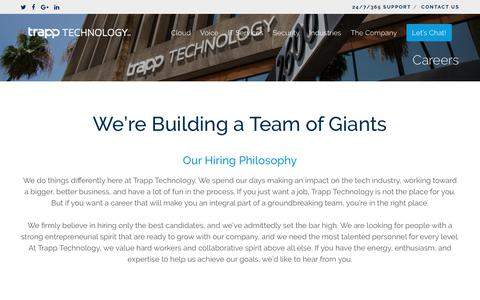 Screenshot of Jobs Page trapptechnology.com - Careers | Trapp Technology - captured Aug. 19, 2018