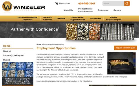 Screenshot of Jobs Page winzelerstamping.com - Employment Opportunities - captured Oct. 18, 2018