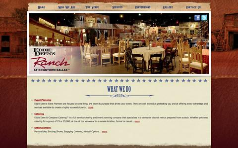 Screenshot of Services Page eddiedeensranch.com - Event Planning Dallas - Catering Dallas - Entertainment Dallas - Eddie Deen's Ranch - captured May 20, 2016