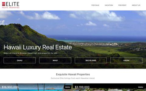 Screenshot of Home Page elitepacific.com - Hawaii Luxury Real Estate - Homes for Sale in Hawaii | Elite Pacific Properties - captured Aug. 12, 2018