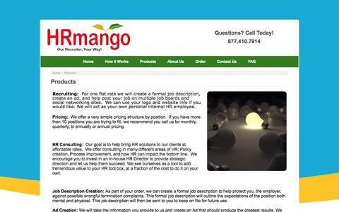 Screenshot of Products Page hrmango.com - Products : HR Mango, Human Resources | Human Resources Management | HR Human Resources - captured Sept. 26, 2014