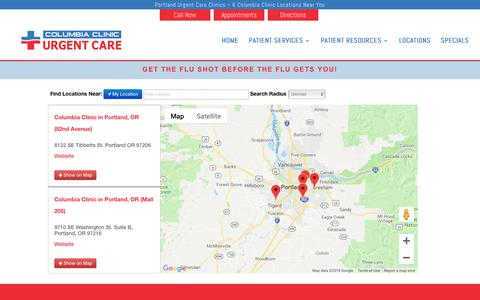 Screenshot of Maps & Directions Page columbiaclinic.com - Locations Map - captured Sept. 29, 2018