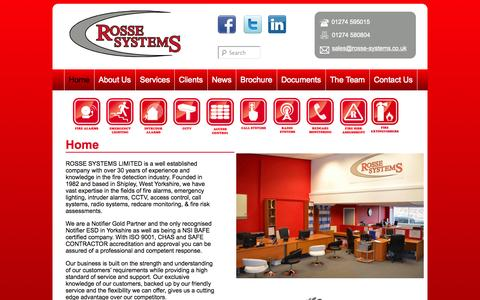 Screenshot of Home Page rosse-systems.co.uk - Fire Alarms and Security Systems Bradford, West Yorkshire | Rosse Systems - captured Oct. 9, 2014