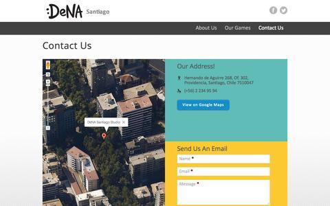 Screenshot of Contact Page denasantiago.com - Contact Us | DeNA Santiago - captured Oct. 27, 2014