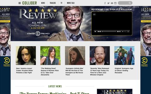 Screenshot of Home Page collider.com - Collider: Movie News, Movie Trailers, Movie Reviews, TV News - captured Oct. 1, 2015