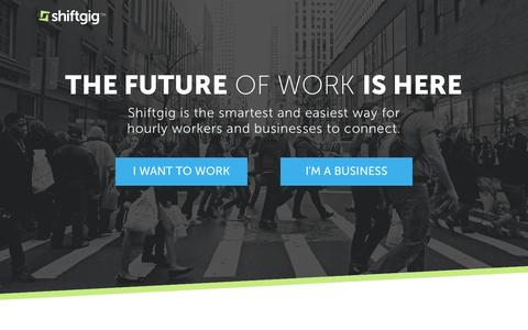 Screenshot of Home Page shiftgig.com - Shiftgig | Changing the Way People Work - captured May 18, 2017