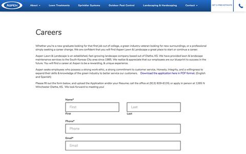 Screenshot of Jobs Page aspenlawn.com - Careers - Aspen Lawn - captured Oct. 9, 2017