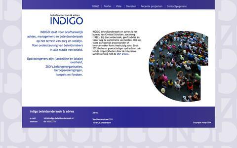 Screenshot of Home Page indigo-beleidsonderzoek.nl - Indigo beleidsonderzoek & advies - captured Oct. 6, 2014