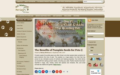 Screenshot of Blog allnaturalpetcare.com - All Natural Pet Care   All Natural Pet Care Blog - captured Sept. 23, 2014