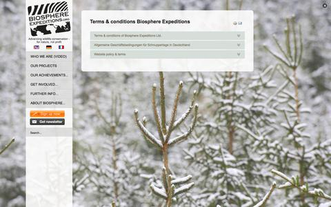 Screenshot of Terms Page biosphere-expeditions.org - Terms & conditions | Biosphere Expeditions - captured Oct. 29, 2014