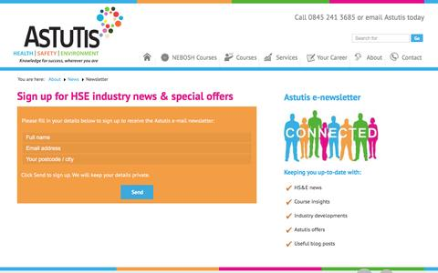 Screenshot of Signup Page astutis.com - Subscribe to News, Updates and Offers from Astutis - captured Feb. 6, 2016