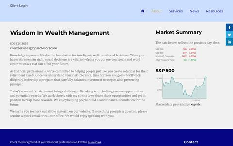 Screenshot of About Page ppsadvisors.com - About | Wisdom In Wealth Management - captured Nov. 9, 2018