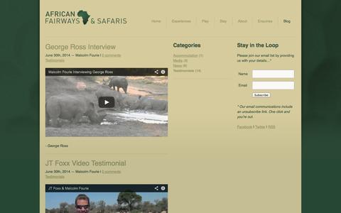Screenshot of Testimonials Page africanfairways.com - African Fairways - Blog - Categories - Testimonials - captured Oct. 4, 2014