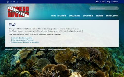 Screenshot of FAQ Page wickeddiving.com - Diving FAQ - captured Sept. 18, 2014