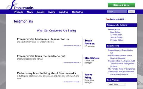 Screenshot of Testimonials Page freezerworks.com - Testimonials | Freezerworks Sample Management Software - captured Nov. 13, 2018