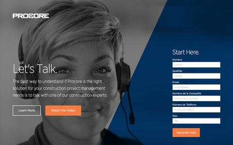 Screenshot of Landing Page procore.com - Let's Talk About Procore | Start Here - captured April 5, 2016
