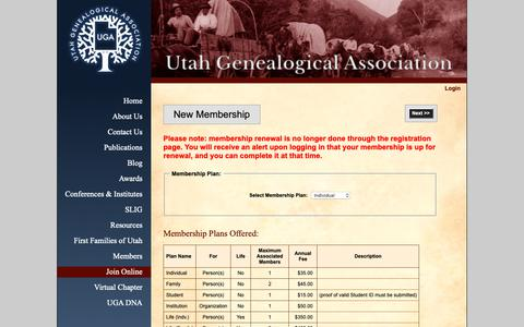 Screenshot of Signup Page ugagenealogy.org - Utah Genealogical Association - Join Online - captured Oct. 18, 2018