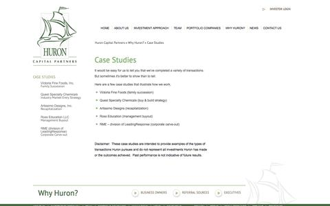 Screenshot of Case Studies Page huroncapital.com - Case Studies | Huron Capital Partners - captured Oct. 3, 2014