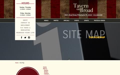 Screenshot of Site Map Page tavernonbroad.com - Tavern On Broad - captured Oct. 1, 2014